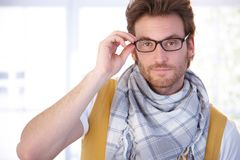Young man in glasses Royalty Free Stock Images