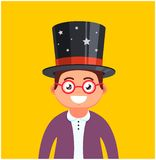 Young man with glasses and a hat on a yellow background. male magician smiles. cute character stock illustration
