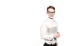 Young man in glasses with laptop with emotion Royalty Free Stock Photography