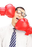 Young man with glasses punched by two red boxing gloves Royalty Free Stock Photos