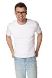 Young man with glasses smiling isolated Royalty Free Stock Photography