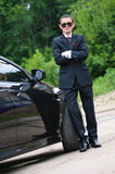 Young man with glasses and suit Royalty Free Stock Image