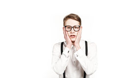 Young man in glasses surprises and shock Stock Photography