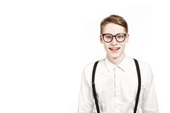 Young man in glasses surprises and shock Royalty Free Stock Images