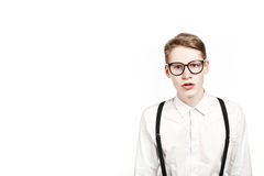 Young man in glasses surprises and shock Royalty Free Stock Image