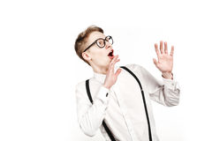 Young man in glasses surprises and shock Stock Photo
