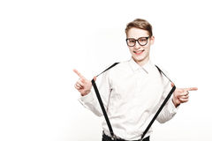 Young man in glasses surprises and shock Stock Photos