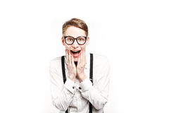 Young man in glasses surprises and shock Royalty Free Stock Photos