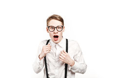 Young man in glasses surprises and shock Royalty Free Stock Photography