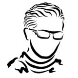 Young man with glasses and sweater, classic hairstyle.  vector illustration