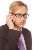 Young man with glasses use mobile Stock Photography
