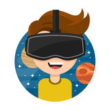 Young man with glasses of virtual reality. .. Flat vector icon cartoon character illustration design. New Gaming Cyber. Technologies. Glasses VR. Space Royalty Free Stock Photos