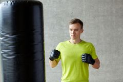 Young man in gloves boxing with punching bag Royalty Free Stock Photo