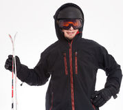 Man with hood is ready to ski Stock Image