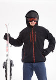 Man with hood is ready to ski Royalty Free Stock Image