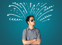 Young man with glued eye and lines, arrows Royalty Free Stock Photos