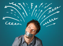Young man with glued mouth and lines, arrows Royalty Free Stock Photography