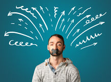 Young man with glued mouth Stock Photography
