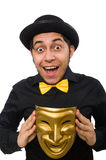 Young man with golden Venetian mask isolated on Royalty Free Stock Images