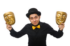 Young man with golden Venetian mask isolated on Royalty Free Stock Photo