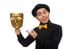 Young man with golden Venetian mask isolated on Royalty Free Stock Photography