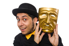 Young man with golden Venetian mask isolated on Royalty Free Stock Image