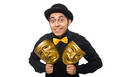 Young man with golden Venetian mask isolated on Stock Image