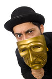 Young man with golden Venetian mask isolated on Stock Photos