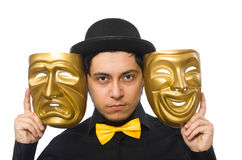 Young man with golden Venetian mask isolated on Stock Photo