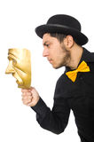 Young man with golden Venetian mask isolated on Stock Images