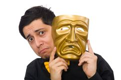 Young man with golden Venetian mask isolated on Stock Photography