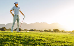 Young man with golf stick on field stock images
