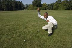 Young Man Golfing, African American, Play Golf Stock Image