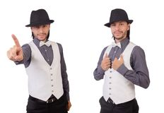 The young man in gray shirt and black hat isolated on white. Young man in gray shirt and black hat isolated on white Stock Image