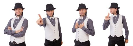 The young man in gray shirt and black hat isolated on white. Young man in gray shirt and black hat isolated on white Stock Photo