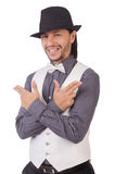 Young man in gray shirt and black hat isolated on. The young man in gray shirt and black hat isolated on white Royalty Free Stock Images
