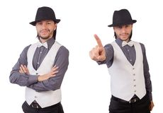 The young man in gray shirt and black hat isolated on white. Young man in gray shirt and black hat isolated on white Stock Photos