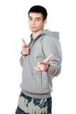 Young man in gray sweatshirt Royalty Free Stock Photography