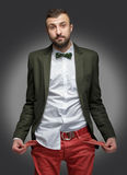Young man in a green suit, no money Stock Images