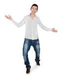 Young man greeting hands up Stock Photos