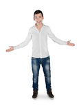 Young man greeting hands up Royalty Free Stock Photo