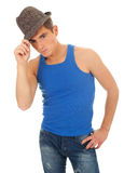 Young man and grey hat Stock Photos