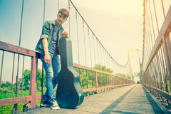 Young man guitar player Stock Photo
