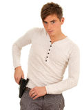 Young man with gun Stock Photography
