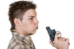 Man and gun. Young man with gun isolated on white Stock Photos