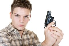 Man and gun. Young man with gun isolated on white Royalty Free Stock Image