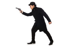 Young man with gun isolated on white Stock Image