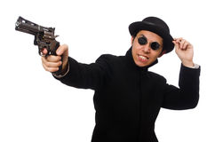 Young man with gun isolated on white Stock Photos