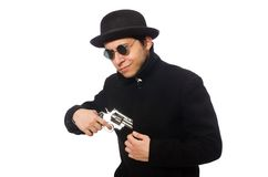 Young man with gun isolated on white Royalty Free Stock Images