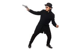 Young man with gun isolated on the white Royalty Free Stock Photo